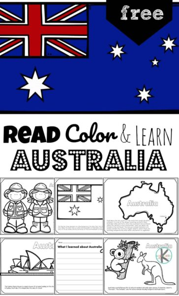 Ready to learn about the island continent? Children will have fun learning about Australia for kids. These FREE Printable Australia Coloring Pages introduce preschool, pre k, kindergarten, first grade, 2nd grade, 3rd grade, 4th grade, and 5th grade students to the diverse Australian wildlife such as kangaroo and koalas, the outback, famous landmarks like the Sydney Opera House, Sydney Harbor Bridge, the Great Barrier Reef, and food from Australia like Vegemite.