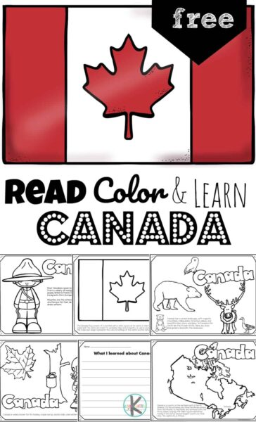 Ready to learn about the second largest country in the world? Children will have fun learning about Canada for kids. These FREE Printable Canada Coloring Pagesintroduce preschool, pre k, kindergarten, first grade, 2nd grade, 3rd grade, 4th grade, and 5th grade students to the diverse Canadian wildlife, Canadian police called Mounties, totem poles, delicious food from Canada, and more!