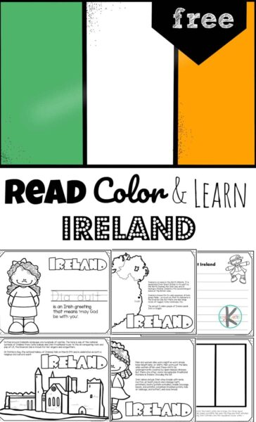 Looking for a lucky leprechaun? Try looking for him in his native homeland - the country of Ireland. Children will have fun learning about Ireland and its culture with this FREE Printable Ireland Coloring Pages for preschool, pre k, kindergarten, first grade, 2nd grade, 3rd grade, 4th grade, and 5th grade kids.