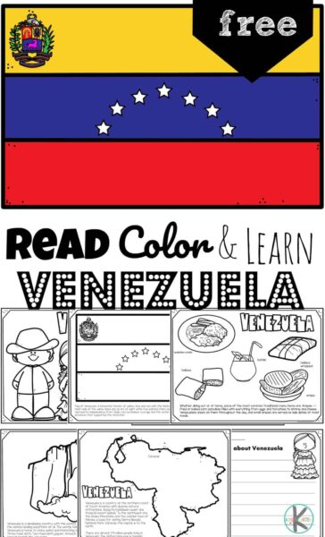 From the world's tallest waterfall, Angel Falls, to a type of guitar known as a Cuatro, children will have fun learning about the South American country Venezuela and its culture with this FREE Printable Venezuela Coloring Pages for preschool, pre k, kindergarten, first grade, 2nd grade, 3rd grade, 4th grade, and 5th grade kids.
