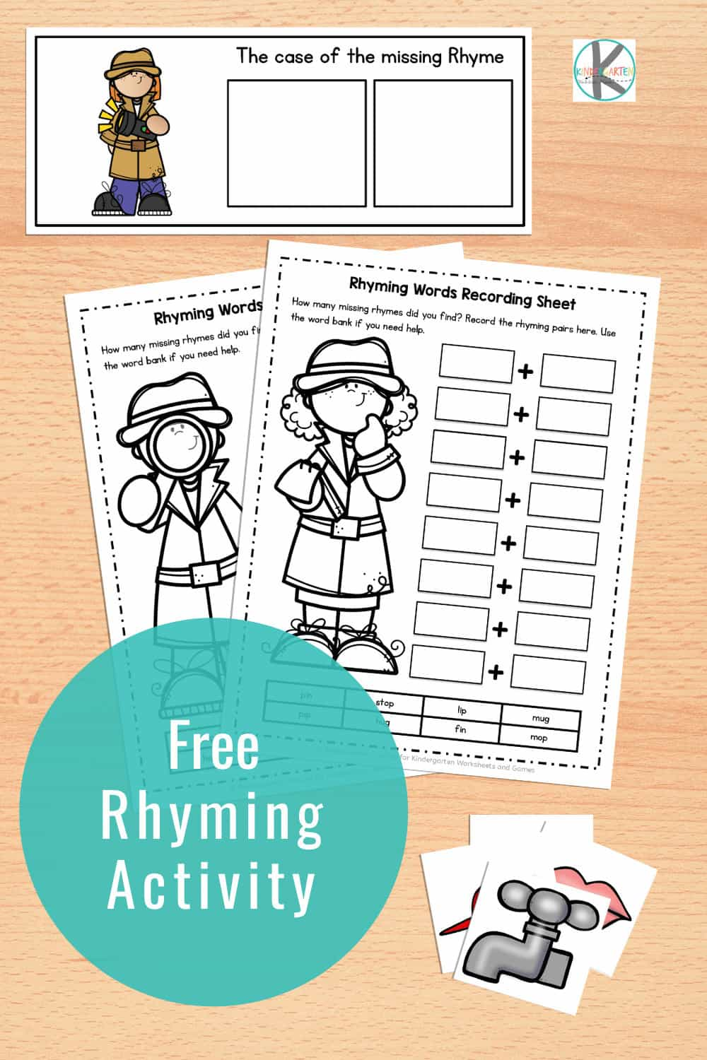Our free sorting mats will help your kindergarten students practice their rhyming skills. Kids will enjoy this simple rhyming activity for kindergarten and first grade students - they will become word detectives! It is a great way to develop phonological awareness!
