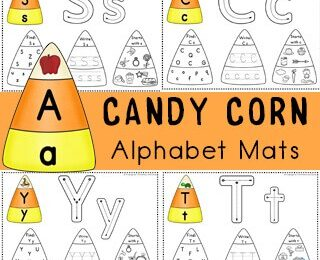 candy corn alphabet mats