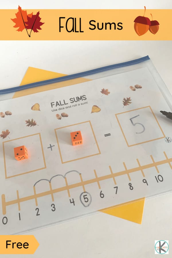 Fall is here which means it's time to fill our days with educational fall math and fall activities to make learning fun! Have fun with this free printable math activity for Autumn. Simply download the pdf file, a couple dice, and you are ready for this Fall Addition Activity for Kindergartners. This activity uses a number line to practice adding numbers 1-12 and adding on.  You can also use this to practice subtraction with kindergarten age students. This math game is perfect for your younger students starting to learn about sums!