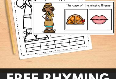 Our free sorting mats will help your kindergarten students practice their rhyming skills. Kids will enjoy this simple rhyming activity and become word detectives! It is a great way to develop phonological awareness! Click through to grab your freebie.