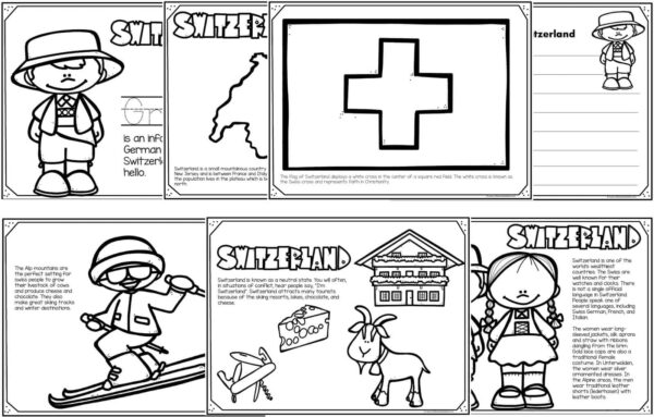 Switzerland coloring pages
