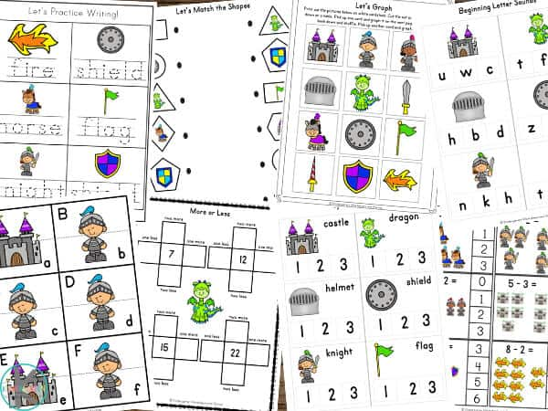 free Themed Worksheets for preschool, pre-k, and kindergarten
