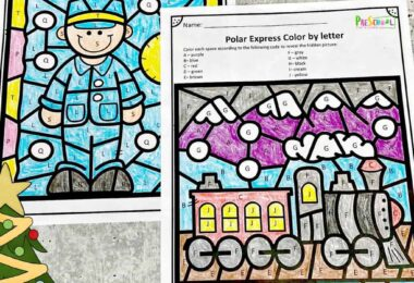 Kids will get excited to practice their letter recognition skills during December with this super cute, Free Polar Express worksheets! This Color by Letter is perfect for toddler, preschool, pre-k, kindergarten, and first grade students. These Polar Express Color by Letter will help to work on student's letters and colors while still having fun learning. The Christmas letter learning worksheets are a  fun and educational way to practice your letters during the month of December.