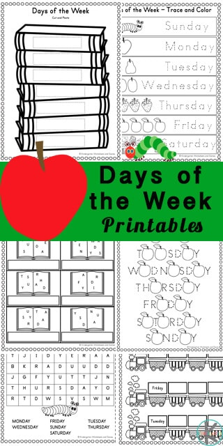These free Days of the Week Worksheets are a great way for children to practice and improve their reading and writing skills while learning the days of the week. These days of the week printables are perfect for preschool, pre-k, kindergarten, and first grade students. Download the pdf file with the days of the week worksheet for kindergarten.