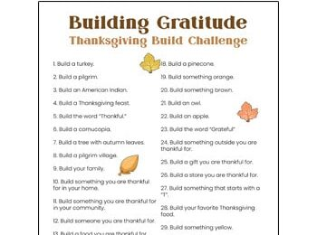 This free printable Gratitude Challenge is a great family activity for November leading up to Thanksgiving. Simply download the pdf file with the 30 days of gratitude and go through the daily Thanksgiving challenges to help kids remember what they are grateful for this year. This November gratitude challenge is fun for preschool, pre-k, kindergarten, first grade, 2nd grade, 3rd grad, 4th grade, 5th grade, 6th grade, and older children as well.