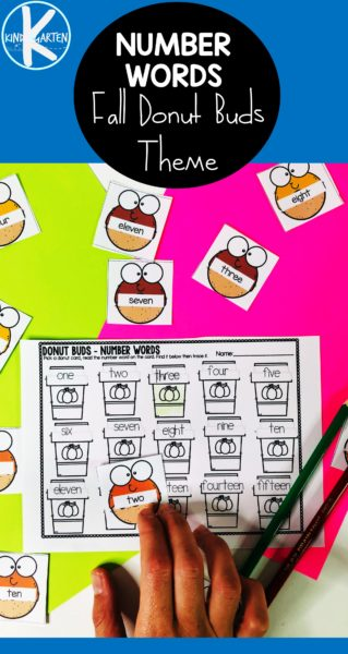 Kids will have fun learning number words and tracing numbers 1-15 with this super cute, free printable Number Words Matching. Students will match the silly donuts with the beverage cup with the corresponding numeral. Preschool, pre-k, and kindergarten age children can also get practice with the tracing numbers printable. This is such a fun donut and fall themed printable activity for kindergarten math!