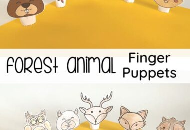How adorable are these free printable animal finger puppets? Your kids will enjoy making their own forest animal finger puppets for pretend play or as nursery rhyme props, so fun! Download pdf file with these animal finger puppets printable in color or black and white and have fun playing and learning with your toddler, preschool, pre-k, kindergarten, and first grade child.