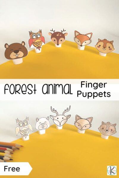 How adorable are these free printable animal finger puppets? Your kids will enjoy making their own forest animal finger puppets for pretend play or as nursery rhyme props, so fun! Download pdf file with theseanimal finger puppets printable in color or black and white and have fun playing and learning with your toddler, preschool, pre-k, kindergarten, and first grade child.