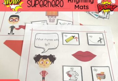 Are your little superhero fans starting to read? Encourage early literacy skills by helping them practice rhyming with these super cute, free printable superhero rhyming mats! This is such a funrhyming activities for kindergarten, pre-k, and first grade students. Download pdf file withfree printable rhyming activities for kindergarten.