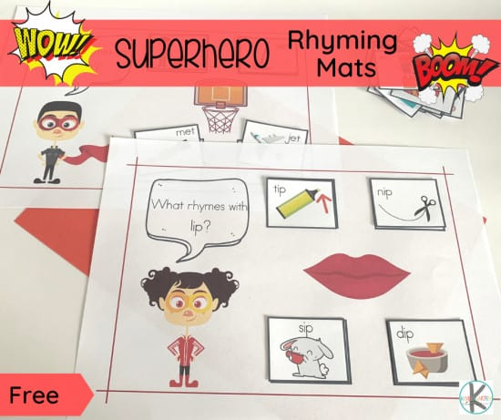 Are your little superhero fans starting to read? Encourage early literacy skills by helping them practice rhyming with these super cute, free printable superhero rhyming mats! This is such a fun rhyming activities for kindergarten, pre-k, and first grade students. Download pdf file with free printable rhyming activities for kindergarten.