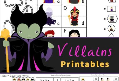 Make learning fun by using themed worksheets like these super cute, free Disney Villain Printables. Included in this Disney Villain Worksheets pack are over 40 pages of fun math and literacy skills for preschool, pre-k, kindergarten, and first graders.  Whether your child is a fan of Captain Hook, the Evil Queen, Maleficent, Mother Gothel, Jafar, Cruella, Ursula, or Hades - they will be engaged with the alphabet worksheets, villain counting, and so many more early learning skills!