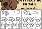 If you are looking for a fun, simple way for kids to learn to subtract these super cute, hibernating animals subtraction within 5 pages are a great way to introduce basic subtraction. Use these kindergarten subtraction worksheets with preschool, pre-k, and kindergartners to learn, practice and review subtracting from five with these fun and free animal worksheets. Download Subtraction Within 5 Worksheets and you are ready for a fun subtract and color activity for kindergarten math.