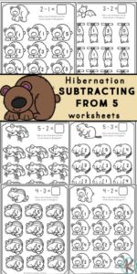 If you are looking for a fun, simple way for kids to learn to subtract these super cute, hibernating animals subtraction within 5 pages are a great way to introduce basic subtraction. Use these kindergarten subtraction worksheets with preschool, pre-k, and kindergartners to learn, practice and review subtracting from five with these fun and free animal worksheets. DownloadSubtraction Within 5 Worksheets and you are ready for a fun subtract and color activity for kindergarten math.