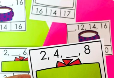Help kindergartners and first grade students practice skip counting during December with this super cute, free printable Christmas skip counting activity. This hands-on kindergarten Christmas math is a reusable christmas printables where children will mark what number comes next as students practice skip counting by 2s and skip counting by 3s.