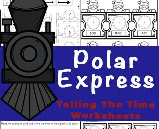 Introduce children in pre-k, preschool, and kindergarten age child to telling time on a clock with these super cute, Polar Express Printables. These Telling the Time Worksheets are a fun train themed Kindergarten math activity that is sure to make learning fun in December or any time you want to work on learning to tell time! Concentrating on learning the o'clock and half-past times, these worksheets are a great way to introduce time and reading a clock to your children.