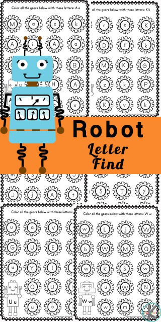 Preschoolers and kindergarteners will love learning and practicing identifying lowercase letters with these super cute Find the Letter activity. These robot printables are sure to engage early learners who are working on letter recognition of lower case alphabet letters. Simply download pdf file with the alphabet worksheets and you are ready to practice your ABCs.