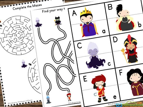 Themed Worksheets with evil queen, maleficent, ursula, jafar, captain hook, mother gothel, cruella, hades, and more
