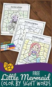 little mermaid color by sight words