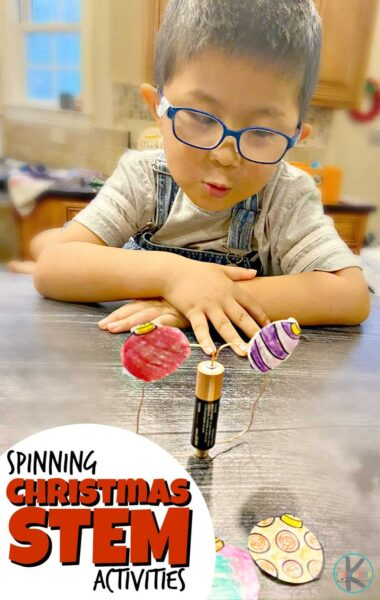 Help kids explore and learn while having fun this holiday season with this super cool Ornaments christmas science experiments. In this Christmas STEM Project, pre-k, kindergarten, first grade, 2nd grade, and 3rd grade students will use a battery, magnet, and copper wire to make a motor to make free printable ornaments go around like a merry go round. This is a simple electronics project that will surely engage and impress students throughout the month of December. Don't miss this spinning science project that makes the bestchristmas activities for kindergarten.