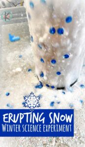 If your kids love the traditional baking soda and vinegar eruptions, they are going to love this snowy version! This Erupting Melted Snow is just a few more ingredients but the results are foamy, sparkly and fun! Toddler, preschool, pre-k, kindergarten, and first grade students will love this winter science experiment. Use this as a winter activity for kids or a way to sneak in some learning with winter science.