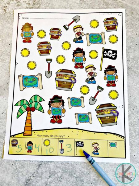 Pirate I Spy Games for Kids in color - 6 pages for toddlers, preschoolers, and kindergartners