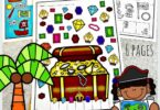 Arh! I spy treasure for children to plunder in these super cute, I Spy Pirate pages. There are 6 super ute pirate worksheetsfor children to work on visual discrimination and counting math skills as they play these i spy games. Plus these fun I spy games for kids are FREE! These i spy worksheets are perfect for toddler, preschool, pre-k, kindergarten, and first grade students.  Simply download pdf file with i spy printables and you are ready to play dn learn!