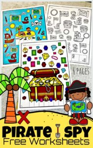 Arh! I spy treasure for children to plunder in these super cute, I SpyPirate pages. There are 6 super ute pirate worksheetsfor children to work on visual discrimination and counting math skills as they play these i spy games. Plus thesefunI spy games for kids are FREE! These i spy worksheets are perfect for toddler, preschool, pre-k, kindergarten, and first grade students. Simply download pdf file with i spy printables and you are ready to play dn learn!