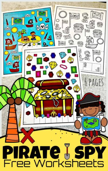 Arh! I spy treasure for children to plunder in these super cute, I SpyPirate pages. There are 6 super cute pirate worksheets for children to work on visual discrimination and counting math skills as they play these i spy games. Plus these fun I spy games for kids are FREE! These i spy worksheets are perfect for toddler, preschool, pre-k, kindergarten, and first grade students. Simply download pdf file with i spy printables and you are ready to play and learn!
