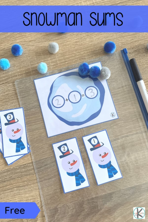 Did Winter arrive where you live? Any snow yet? Yes? Time for fun Winter learning then! Get these free snowman printables to add to your Winter learning plans. Preschool, pre-k, and kindergarten age children will have fun with this winter math activity where they will practice addition with a cute theme. This winter activity for kindergarten is a great way to sneak in some learning while having fun. Simply download pdf file withwinter math activities for preschoolersand you are ready to play and learn.