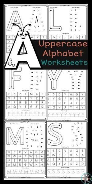 Make learning your letters fun with these uppercase Free Alphabet Printables. These ABC printables allow preschoolers, pre-k, and kindergarten age students to learn their letters by tracing, completing a dot to dot alphabet letter, letter find, and tracing the uppercase alphabet letters. will love learning and practicing to identify the uppercase letters of the alphabet with these fun and free Uppercase Alphabet Letter worksheets. These fun, educational letter pages are here to help kids work on and review their letter recognition while learning the uppercase letters of the alphabet.