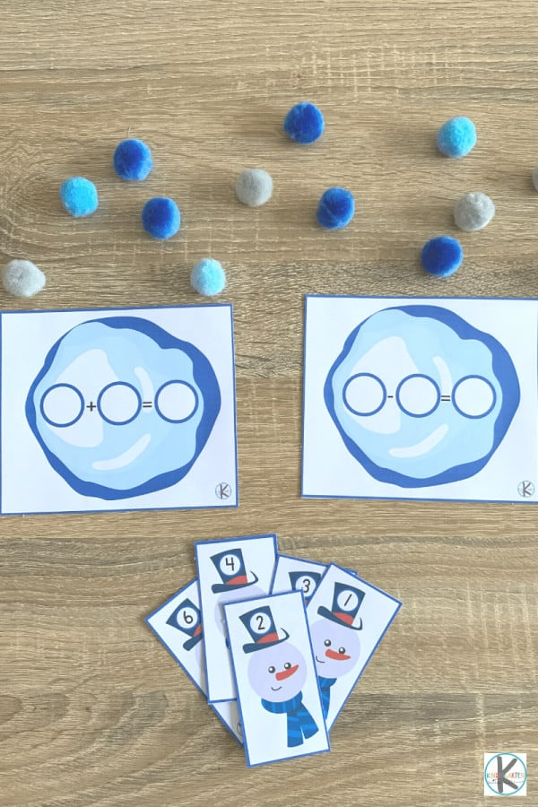 Winter Math activity with pom poms, snowman task cards and winter pirntables