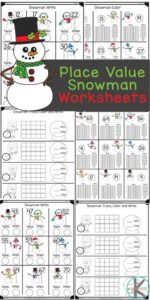These super cute place value worksheets have a fun snowman theme to keep kids engaaged with snowman math this winter. These Tens and Ones Worksheets are such a fun winter math activity for pre-k, kindergarten, and first grade students. While learning about place value for kids can be tricky, this simple introduction to place value is perfect for a kindergarten math worksheets. Simply download the place value worksheets pdf file and you are ready to play and learn this January for yoru next snowman theme.