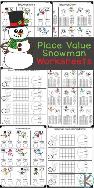These super cute place value worksheets have a fun snowman theme to keep kids engaaged with snowman math this winter. These Tens and Ones Worksheets are such a fun winter math activity for pre-k, kindergarten, and first grade students. While learning about place value for kids can be tricky, this simple introduction to place value is perfect for a kindergarten math worksheets. Simply download theplace value worksheets pdf file and you are ready to play and learn this January for yoru next snowman theme.