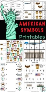 Introduce children to american symbols for kids with this HUGE pack of math and litearcy skills for preschool, pre-k, kindergarten, and first grade students. Included in these Kindergarten Activity Sheets are twelve different patriotic symbols such as the White House, the Statue of Liberty and the Washington Monument in Washington DC. Simply print pdf file withAmerican symbol worksheets and you are ready to play and learn!