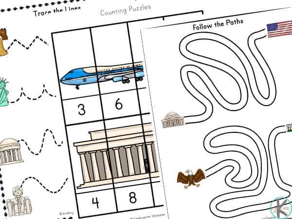Kindergarten Activity Sheets about USA
