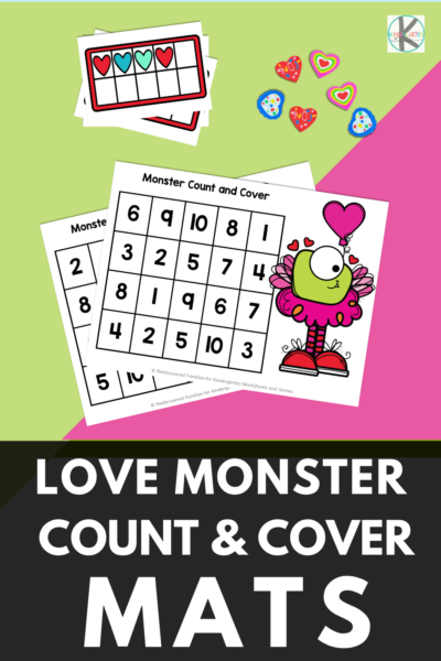 Our FREE Printable Love Monster count and cover game is ready just in time for Valentine's Day. You will love this fun number game for kindergarten. This valentines day math is EASY prep and lots of fun. Use the Valentine's Day Worksheets to make learning fun with a Valentines Day Kindergarten activity for at home or in the classroom.  Simply download pdf file with valentiens activities for kindergarten and you are ready to play and learn with a heart activity this February!