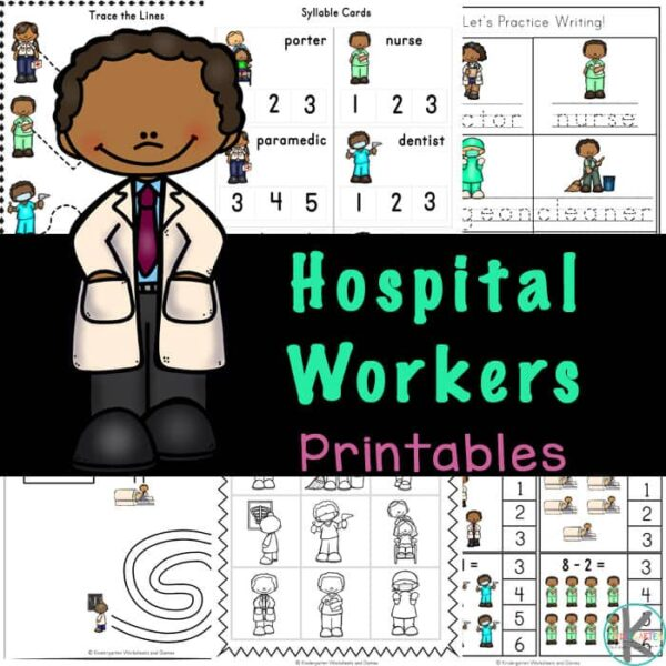 FREE Hospital Theme Kindergarten Worksheets