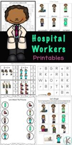 Kids in preschool, pre-k, kindergarten, and grade 1 will love working on their math and literacy skills while completing the activities in this massive Hospital Workers Printable Pack. This HUGE pack of kindergarten activity sheets will introduce children to eleven different occupations of those who work in a hospital such as a doctor, surgeon, radiologist, paramedic and a nurse. Simply print pdf file with doctor printables and you are ready to play and learn.