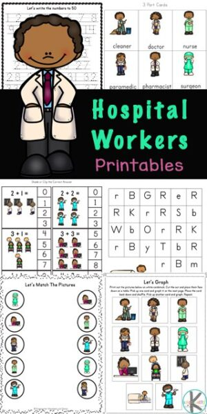 Kids in preschool, pre-k, kindergarten, and grade 1 will love working on their math and literacy skills while completing the activities in this massive Hospital Workers Printable Pack. This HUGE pack of kindergarten activity sheets will introduce children to eleven different occupations of those who work in a hospital such as a doctor, surgeon, radiologist, paramedic and a nurse. Simply download pdf file with doctor printables and you are ready to play and learn.