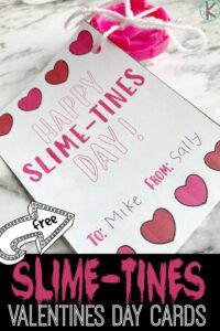 Please tell me I am not the only one whose child is obsessed with slime?!? I know I am not, that is a silly question. Which is why this is one of our favorite new Valentine ideas! Whether you buy or make the slime, these super cute, free Printable Valentine Cards are super handy to make a valentines day activity to give to friends, family, and classmates. Simply download the pdf file with these  Kids Valentine Cards for toddler, preschool, pre-k, kindergarten, first grade, and 2nd graders.