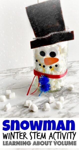 Fun winter stem activity is a great way for children to learn how to measure snowfall with a fun winter science experiment. Start out measuring marshmallows, cotton, or water and then use with winter science to top relying on the weather reporter, but I figured it was time that we measured it on our own. So we made a Snowman Measuring Jar. It's not only cute but it is functional! THis is a fun winter activity for kids from preschool, pre-k, kindergarten, first grade, and 2nd grade students.