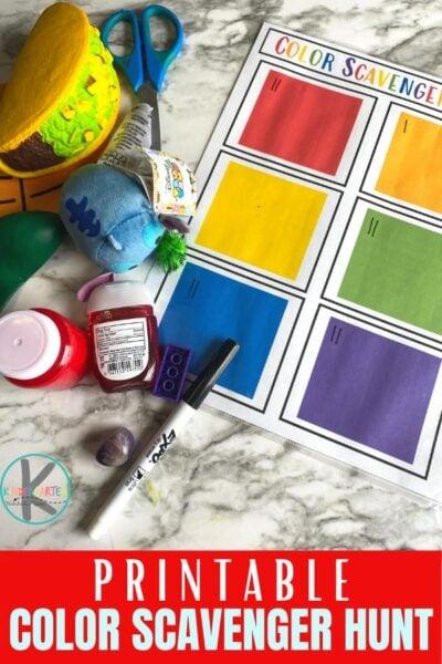 Free Printable Color Scavenger Hunt makes learning colors FUN! This colour scavenger hunt is fun for toddler, preschool, & kindergarten.