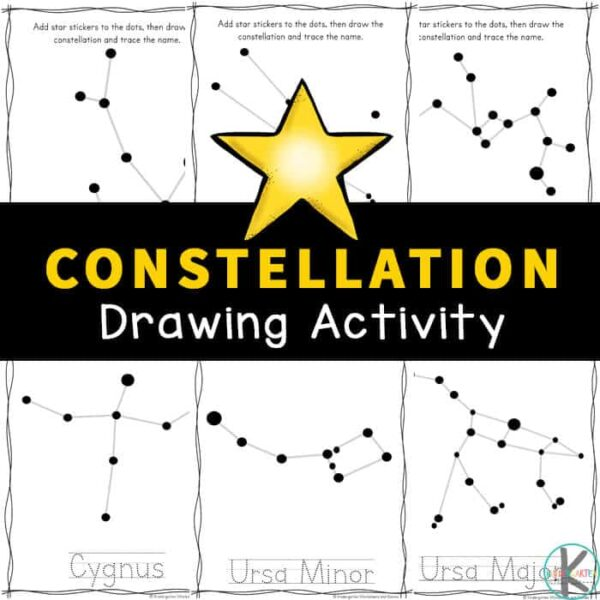 This free, no-prep Constellation Drawing Activity is a great way for children in pre-k, kindegarten, first grade, 2nd grade, 3rd grade, and 4th grade students to learn about 28 different constellations that can be found in the night sky. Whether you live in the Northern or the Southern Hemisphere, these handy constellation worksheets are a great resource. Simply download pdf file withconstellation printables and you are ready to play and learn aboutconstellations for kids in our solar sytem!