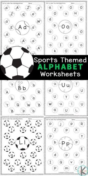 Work on letter recognition with these super cute, Find the Letter Worksheets. These find the alphabet worksheet have a fun sports theme to engage your sports fan in preschool, pre-k, and kindergarten. The sports printables are filled with soccer, bowling, baseball, tennis, beach, volleyball, basketball, and more sports equipment. Kids will have fun strengthening fine motor skills and literacy skills as they complete the letter find worksheets pages. Simply print pdf file with kindergarten alphabet worksheetsand you are ready to play and learn!