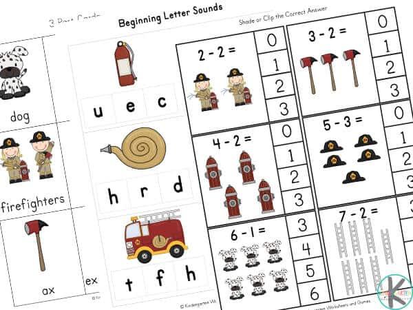 Firefighter worksheet kindergarten