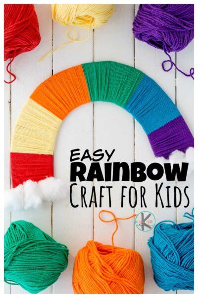 This Yarn Wrappedrainbow craftis such a beautiful and simplerainbow craft idea! These easy rainbow crafts for kids use a simple technique to produce a stunning rainbow to celebrate springtime. Use this as aSt Paticks Day Craftduring March, aspring crafts for kids during April and May, or a prettyweather craft all summer long! Either way this pretty craft for spring is a fun rainbow craft preschool, toddler, pre-k, kindergarten, first grade, and 2nd graders too.